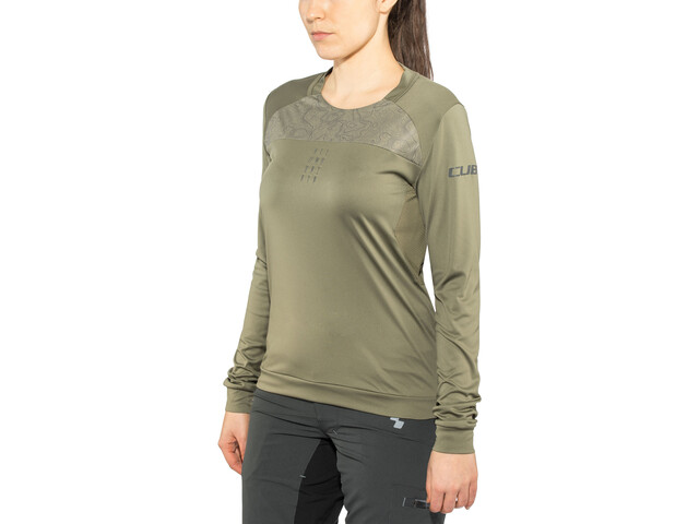 Cube AM Round Neck Jersey longsleeve Dame olive